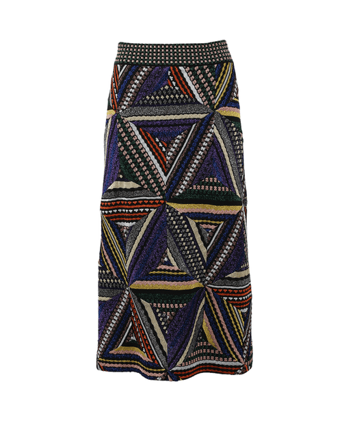 MISSONI CLOTHINGSKIRTKNEE LENGT BLK/PRPL / 42 Patchwork Skirt