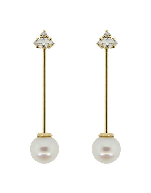 MIZUKI JEWELRYFINE JEWELEARRING YLWGOLD Diamond and Pearl Earrings