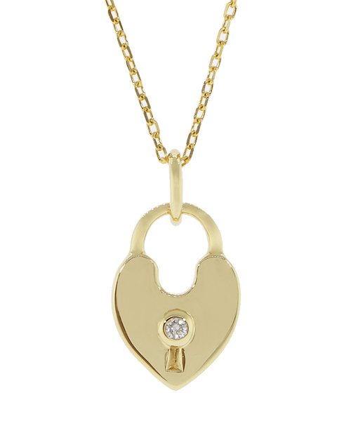 MONICA RICH KOSANN JEWELRYFINE JEWELNECKLACE O YLWGOLD Heart Shaped Lock Charm Necklace
