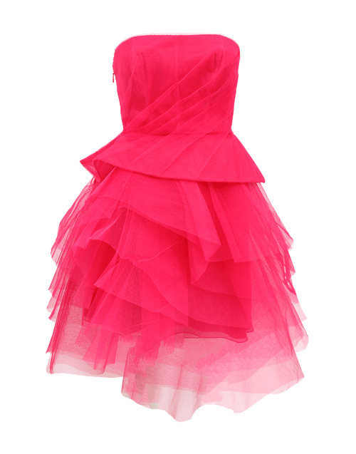 MONIQUE LHUILLIER CLOTHINGDRESSCOCKTAIL MAGENTA / 2 Strapless Tier Skirt Dress