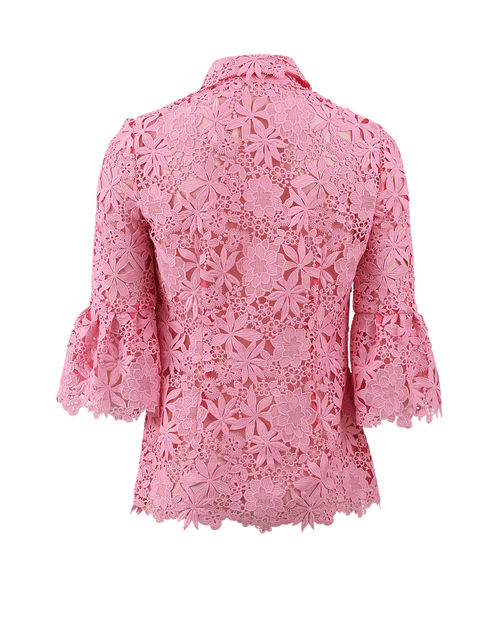 MONIQUE LHUILLIER CLOTHINGTOPBLOUSE ROSE / 4 Lace Ruffle Cuff Blouse