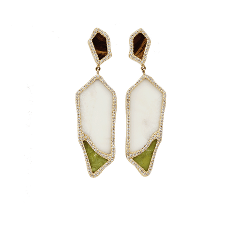 MONIQUE PEAN JEWELRYFINE JEWELEARRING YLWGOLD Walrus Ivory And Serpentine Earrings