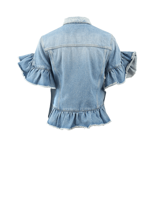 MSGM CLOTHINGJACKETDENIM Ruffle Sleeve Denim Jacket