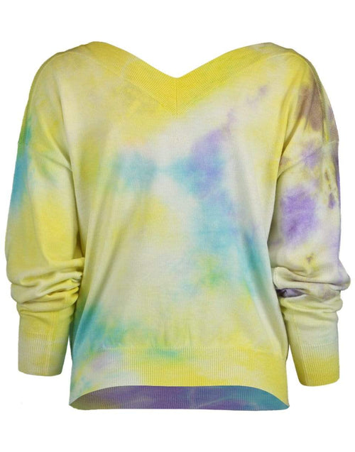 MSGM CLOTHINGTOPSWEATER V-Neck Tie Dye Sweater