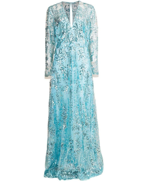 NAEEM KHAN CLOTHINGDRESSGOWN AQUA / 10 Aqua Long Sleeve Paillette Embroidered Gown