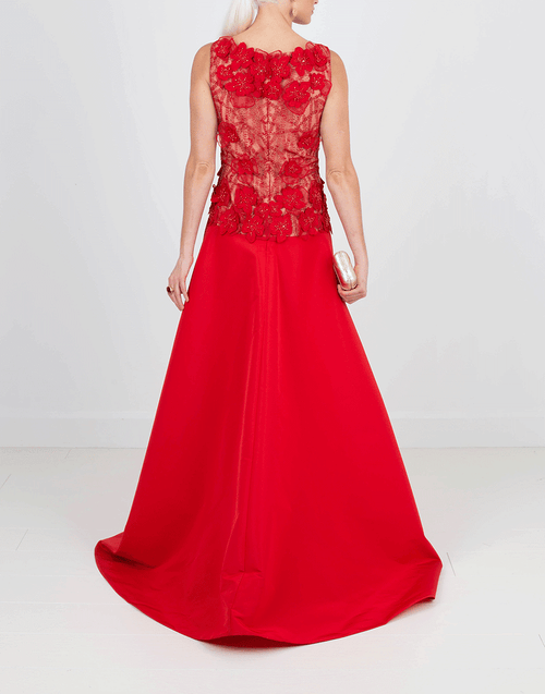 NAEEM KHAN CLOTHINGDRESSGOWN RED / 10 Beaded Taffeta Gown