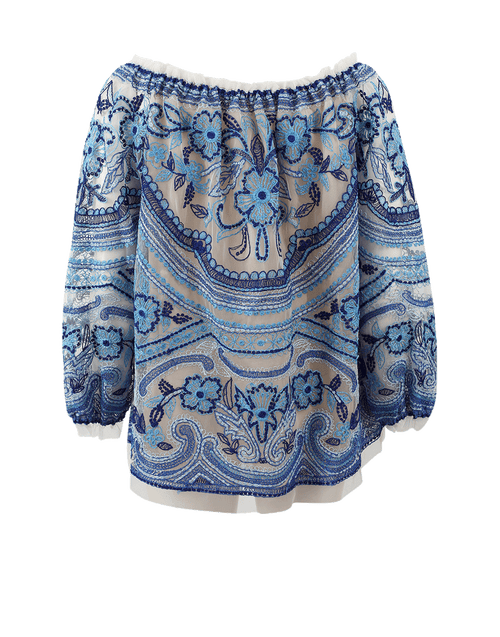 NAEEM KHAN CLOTHINGTOPBLOUSE IVRY/BLU / XL Embroidered Blouse