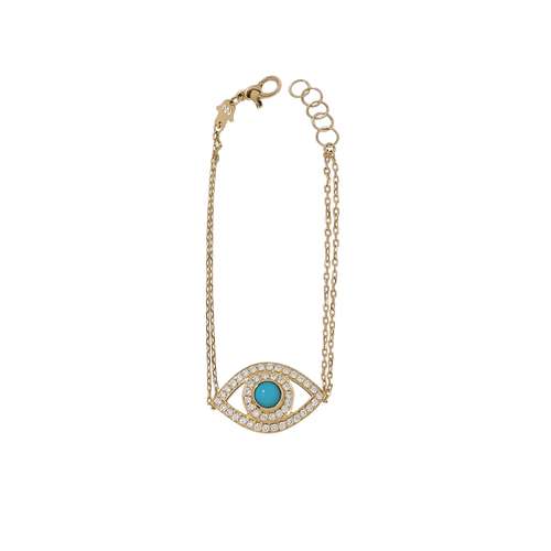 NETALI NISSIM JEWELRYFINE JEWELBRACELET O YLWGOLD Turquoise And Diamond Big Eye Bracelet