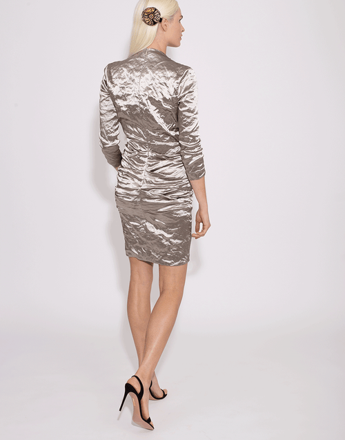 NICOLE MILLER CLOTHINGDRESSCASUAL Metallic V-Neck Dress