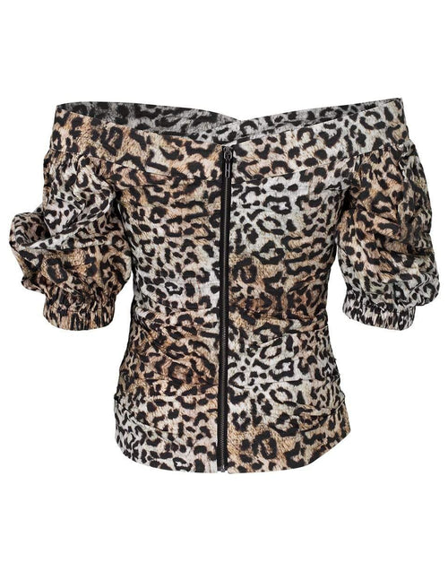 NICOLE MILLER CLOTHINGTOPMISC Leopard Puff Sleeve Top