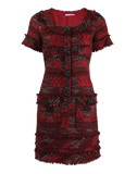 OSCAR DE LA RENTA CLOTHINGDRESSCASUAL GARNET / 14 Short Sleeve Mixed-Tweed Dress