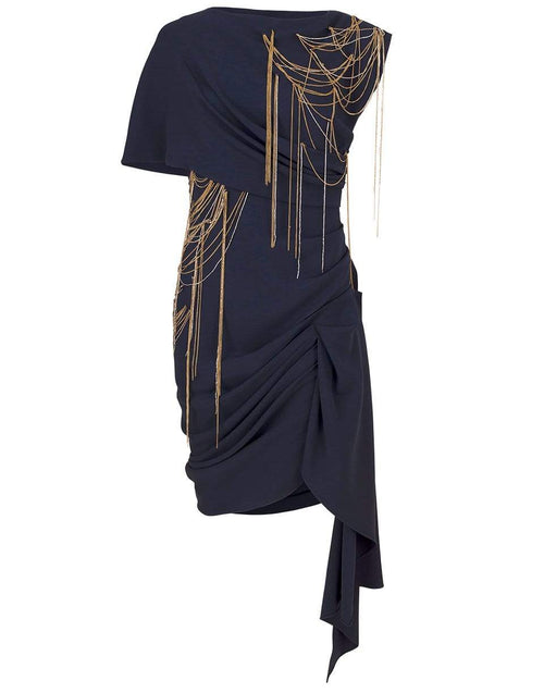 OSCAR DE LA RENTA CLOTHINGDRESSCASUAL NAVY / 8 Chain Embellished Draped Mini Dress