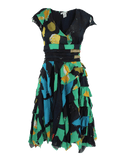 OSCAR DE LA RENTA CLOTHINGDRESSCASUAL NAVY/MIX / 10 Cap Sleeve Henry-Print Tier Dress