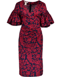 OSCAR DE LA RENTA CLOTHINGDRESSCASUAL NVY/GRNT / 8 Pencil Wrap Dress