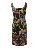OSCAR DE LA RENTA CLOTHINGDRESSCASUAL Sleeveless U-Neck Patchwork Dress