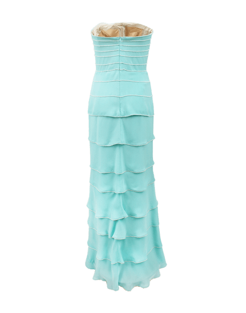 OSCAR DE LA RENTA CLOTHINGDRESSCOCKTAIL AQUA / 6 Strapless Pearl Embroidered Tiered Gown