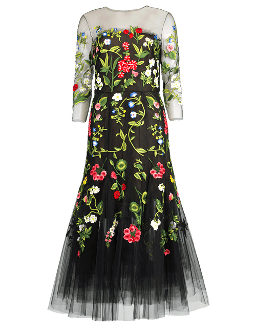 OSCAR DE LA RENTA CLOTHINGDRESSCOCKTAIL BLACK / 8 Flower Embroidered Tulle Cocktail Dress