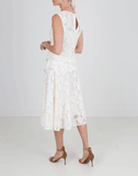 OSCAR DE LA RENTA CLOTHINGDRESSEVENING WHITE / 10 Gathered Waist Lace Dress
