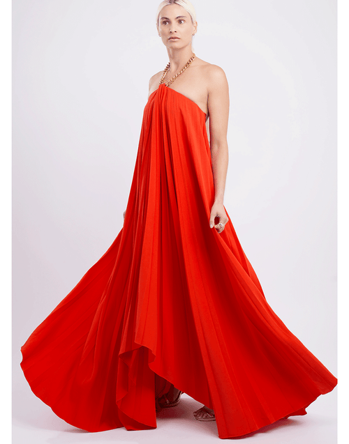 OSCAR DE LA RENTA CLOTHINGDRESSGOWN Chain Halter Neck Pleated Gown