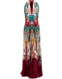 OSCAR DE LA RENTA CLOTHINGDRESSGOWN CLARET / 6 Halter-Neck Paisley Print Pleated Gown