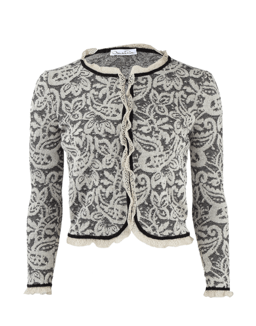 OSCAR DE LA RENTA CLOTHINGJACKETMISC Long Sleeve Lace-Knit Cardigan Jacket