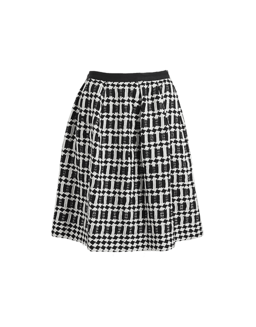 OSCAR DE LA RENTA CLOTHINGSKIRTMISC BLK/WHT / 4 Back Zip Pleated Skirt