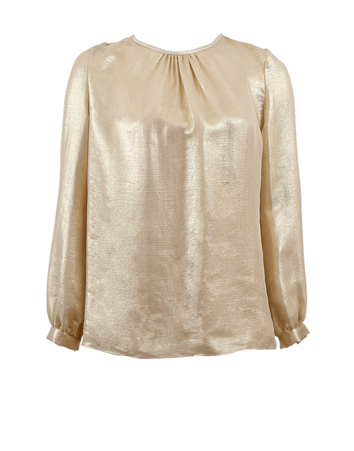 OSCAR DE LA RENTA CLOTHINGTOPBLOUSE PALE GLD / 8 Lamé Back Tie Blouse