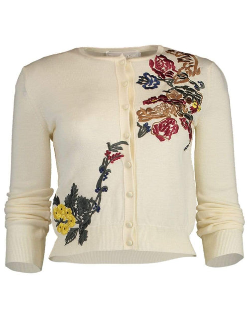 OSCAR DE LA RENTA CLOTHINGTOPCARDIGAN Cropped Floral Applique Cardigan