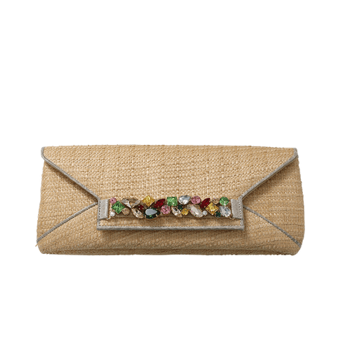 OSCAR DE LA RENTA HANDBAGCLUTCHES NATURAL Jeweled Raffia Clutch