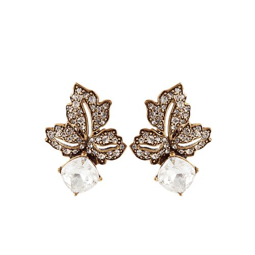 OSCAR DE LA RENTA JEWELRYBOUTIQUEEARRING RUSSNGLD Bejeweled Leaf Clip Earrings