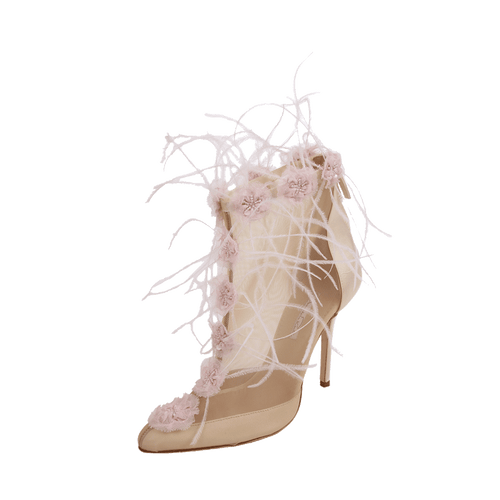 OSCAR DE LA RENTA SHOEBOOT Mesh Bootie with Feather and Floral Embroidery