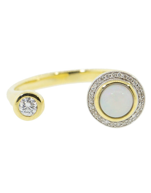 PAMELA LOVE JEWELRYFINE JEWELRING YLWGOLD / 6 Opal and White Diamond Gravitation Ring