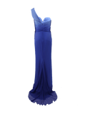 PAMELLA ROLAND CLOTHINGDRESSGOWN BLUE/WHT / 6 One Shoulder Sweetheart Gown
