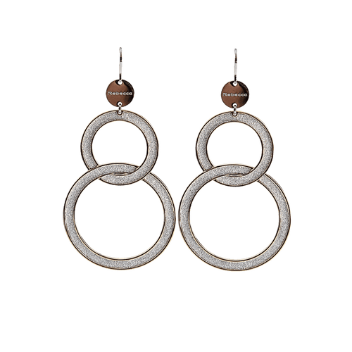 REBECCA JEWELRYBOUTIQUEEARRING SLVR/YG Two Circle Soleil Earrings