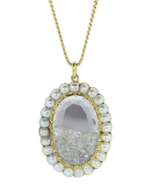 RENEE LEWIS JEWELRYFINE JEWELNECKLACE O YLWGOLD Pearl and Diamond Shake Oval Necklace