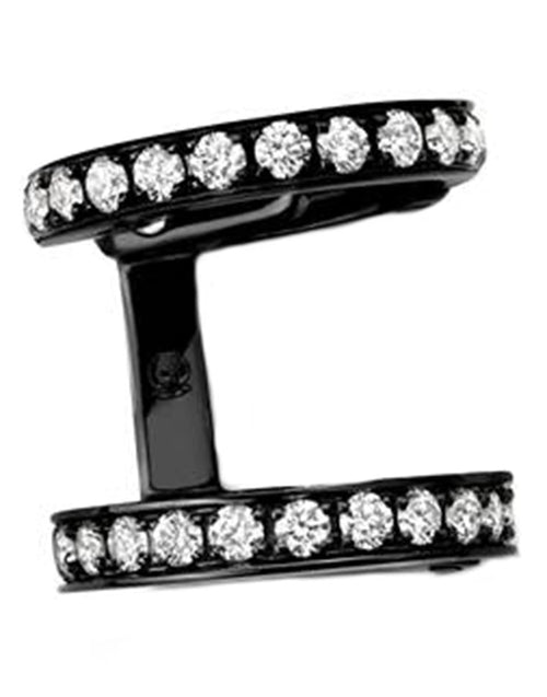REPOSSI JEWELRYFINE JEWELEARRING BLKGOLD Berbere Monotype 2 Row Pave Diamond Earcuff