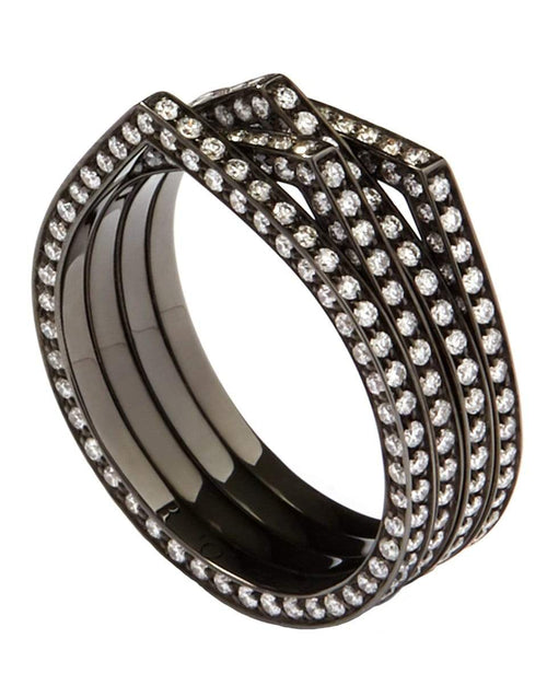 REPOSSI JEWELRYFINE JEWELRING BLKGOLD / 6.5 Antifer 4 Row Pave Diamond Ring