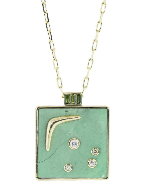 RETROUVAI JEWELRYFINE JEWELNECKLACE O YLWGOLD Green Turquoise Square Karma Necklace