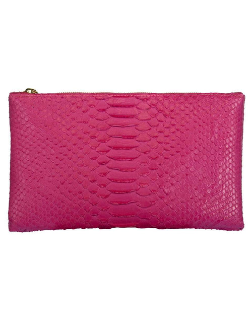 RIVERS EIGHT HANDBAGCLUTCHES HOT PINK Hot Pink Small Python Effect Clutch