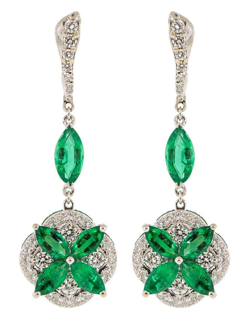 SABOO FINE JEWELS JEWELRYFINE JEWELEARRING WHTGLD Emerald and Diamond Drop Earrings