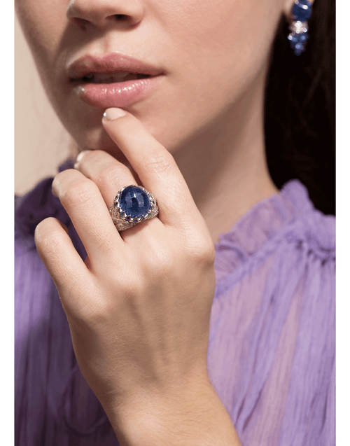 SABOO FINE JEWELS JEWELRYFINE JEWELRING PLAT / 6.25 Blue Sapphire, Emerald, Diamond and Jade Ring