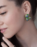 SELIM MOUZANNAR JEWELRYFINE JEWELEARRING ROSEGOLD Three Round Green Enamel and Tanzanite Earrings