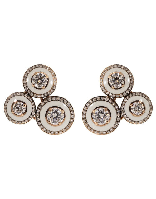 SELIM MOUZANNAR JEWELRYFINE JEWELEARRING ROSEGOLD Three Round White Enamel and Diamond Earrings