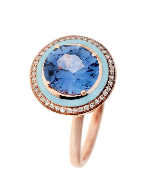 SELIM MOUZANNAR JEWELRYFINE JEWELRING ROSEGOLD / 6 Blue Sapphire, Diamonds and Light Blue Enamel Ring