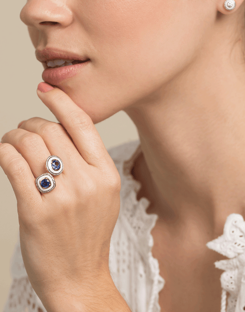 SELIM MOUZANNAR JEWELRYFINE JEWELRING ROSEGOLD / 7 Blue Sapphire and Diamond White Enamel Ring