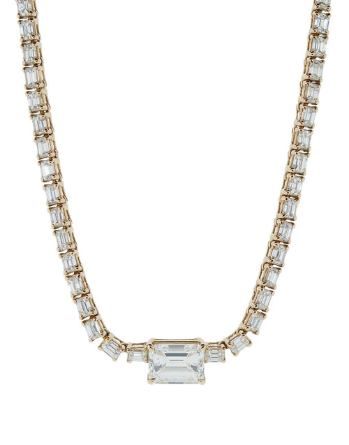 SHAY JEWELRY JEWELRYFINE JEWELNECKLACE O ROSEGOLD Emerald Cut Diamond Center Necklace