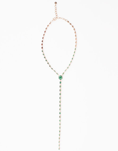 SHAY JEWELRY JEWELRYFINE JEWELNECKLACE O ROSEGOLD Emerald Illusion Y Drop Necklace