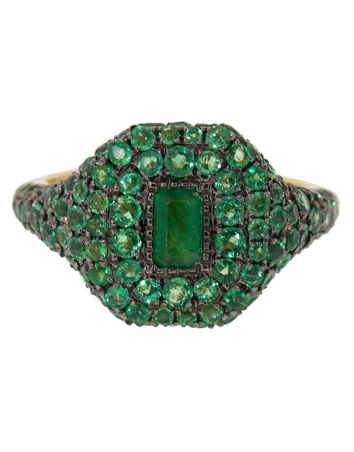 SHAY JEWELRY JEWELRYFINE JEWELRING YLWGOLD / 3.5 Pave Emerald Pinky Ring