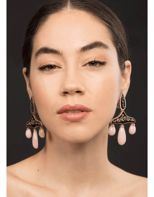 SILVIA FURMANOVICH JEWELRYFINE JEWELEARRING ROSEGOLD Marquetry Wood Earrings with Pink Opal