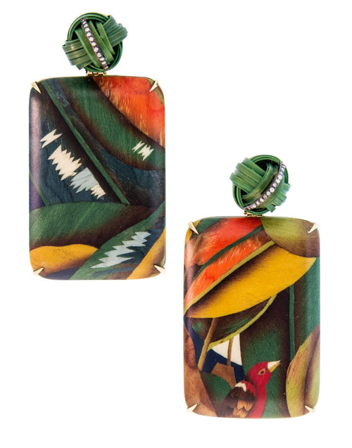 SILVIA FURMANOVICH JEWELRYFINE JEWELEARRING YLWGOLD Bird of Paradise Marquetry Earrings